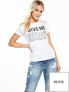 v-by-very-petite-petite-frill-shoulder-slogan-tee