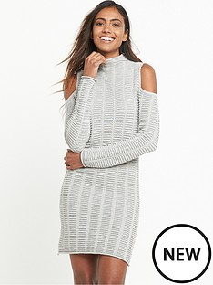 french-connection-mozart-cold-shoulder-knitted-dress-light-grey-marl