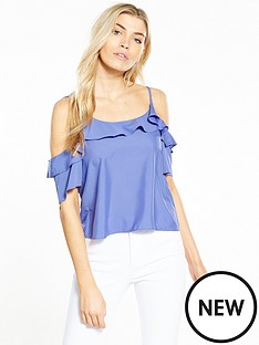 miss-selfridge-blue-cold-shoulder-cami