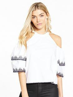 miss-selfridge-double-sleeve-cold-shoulder-top-ivory