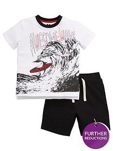 mini-v-by-very-boys-shark-wave-jersey-short-set