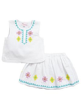 Mini V By Very Toddler Girls Embroidered Dobby Top And Skirt Set