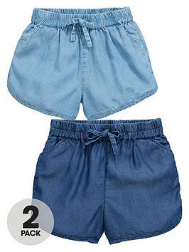 Mini V By Very Toddler Girls 2Pk Denim Tencell Shorts