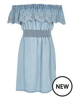 river-island-girls-embroidered-denim-frill-bardot-dress