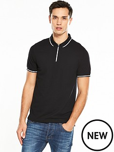 v-by-very-short-sleeve-zip-collar-tipped-polo