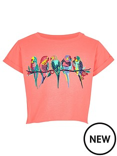 river-island-girls-pink-cropped-budgie-embroidered-t-shirt