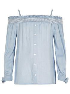 river-island-girls-blue-bardot-tie-sleeve-top