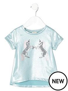 river-island-mini-mini-girls-turquoise-metallic-unicorn-t-shirt