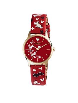 Radley Radley Heart And Dog Printed Red Dial Red Strap Ladies Watch