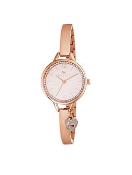 Radley Radley White Dial Heart Charm Rose Tone Bangle Ladies Watch