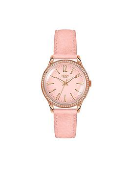 Henry London Henry London Shoreditch Pink Dial Pink Leather Strap Ladies Watch