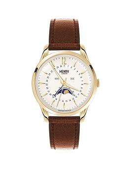 Henry London Henry London Westminster Pale Champagne Dial Brown Leather Strap Ladies Watch