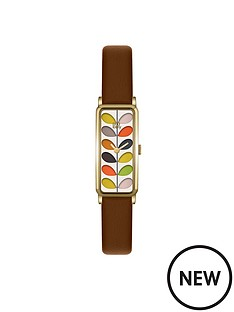 orla-kiely-rectangular-case-multicolour-stem-print-dial-brown-leather-strap-ladies-watch