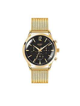 Henry London Henry London Westminster Black Chronograph Dial Gold Tone Stainless Steel Mesh Bracelet Mens Watch