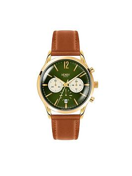 Henry London Henry London Chiswick Green Chronograph Dial Brown Leather Strap Mens Watch