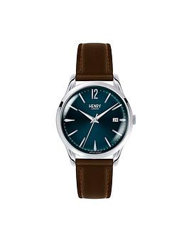 Henry London Henry London Knightsbridge Blue Textured Dial Brown Leather Strap Mens Watch