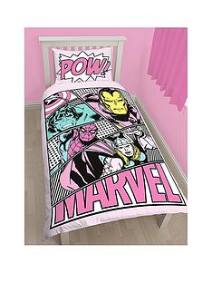marvel-comics-pink-single-duvet-cover-set