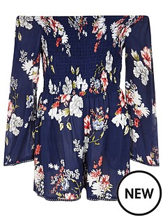 river-island-girls-blue-floral-print-shirred-playsuit