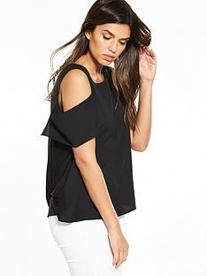 french-connection-cut-out-shoulder-top-black