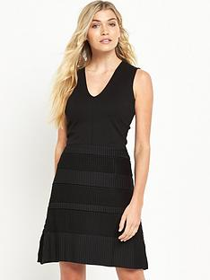 french-connection-pleat-lace-jersey-dress-black