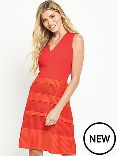 french-connection-french-connection-pleat-lace-jersey-dress-coral