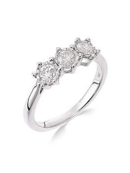 Love Diamond 9Ct White Gold 50 Point Diamond Trilogy Ring