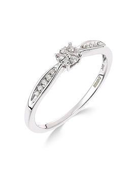 Love DIAMOND Love Diamond 9Ct White Gold 10 Point Diamond Cluster Ring Picture