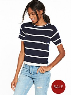 v-by-very-short-sleeve-stripe-jumper