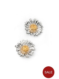 elements-silver-sterling-silver-2-tone-daisy-stud-earrings