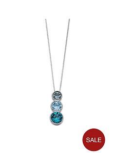 elements-silver-sterling-silver-swarovskinbspblue-tone-triple-stone-pendant