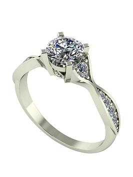 Moissanite Moissanite 9Ct Gold 1Ct Eq Twisted Shank Solitaire Ring Picture