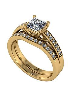 moissanite-premier-collection-9ct-gold-110ct-total-princess-cut-centre-moissanite-bridal-set