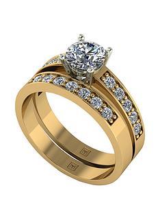moissanite-premier-collection-9ct-gold-120ctnbsptotal-eq-round-brilliant-centre-moissanitenbspbridal-set