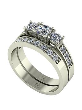Moissanite Moissanite Lady Lynsey 9Ct Gold 1Ct Total Moissanite Trilogy  ... Picture