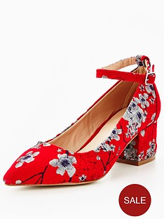 v-by-very-kourtney-floral-tapestry-low-block-heel-shoe-red