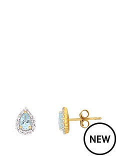 the-love-silver-collection-sterling-silver-gold-plated-077ct-blue-topaz-amp-cubic-zirconia-pear-shape-earrings
