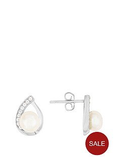 love-pearl-sterling-silver-rhodium-plated-button-freshwater-pearl-amp-cubic-zirconia-pear-shape-stud-earrings