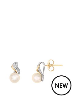 love-pearl-9ctnbsptwo-tone-diamond-set-amp-freshwater-pearl-stud-earrings