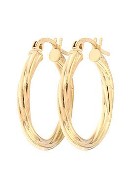 Love GOLD Love Gold Bracci 9Ct Yellow Gold 19Mm Swirl Hoop Creole Earrings Picture