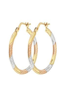 Love GOLD Love Gold Bracci 9Ct 3 Col Diamond Cut 24Mm Hoop Creole Earrings Picture
