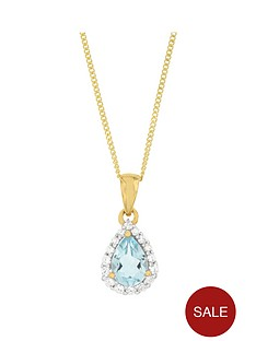 the-love-silver-collection-sterling-silver-gold-plated-068ct-blue-topaz-amp-cubic-zirconia-pear-shape-pendant