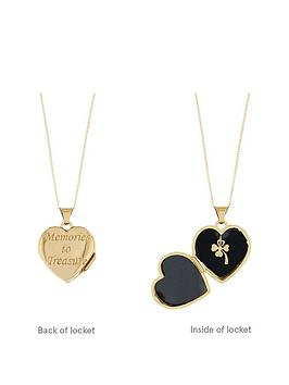 Love Gold 9Ct Yellow Gold 15Mm Heart Locket Pendant With Bow &Amp Clover Charm