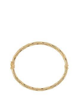 Bracci Bracci 9Ct Yellow Gold Figure Of 8 Hinged Twisted Bangle