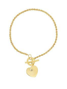 Bracci Bracci 9Ct Yellow Gold Rope Chain TBar Heart Bracelet