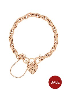 bracci-9ctnbsprose-gold-textured-link-heart-filigree-clasp-with-safety-chain-bracelet