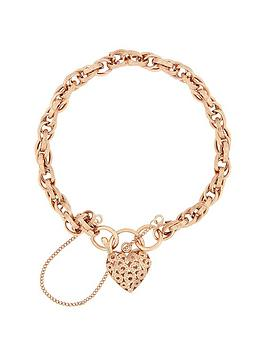 Bracci Bracci 9Ct Rose Gold Textured Link Heart Filigree Clasp With Safety Chain Bracelet