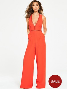 myleene-klass-ladder-trim-wide-leg-jumpsuit-orange
