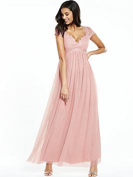 Little Mistress Crochet Cap Sleeve Mesh Maxi Dress  Blush