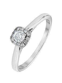 Love Diamond 9Ct White Gold 25 Point Halo Ring