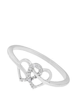 Love Diamond 9Ct White Gold Diamond Set Heart Ring